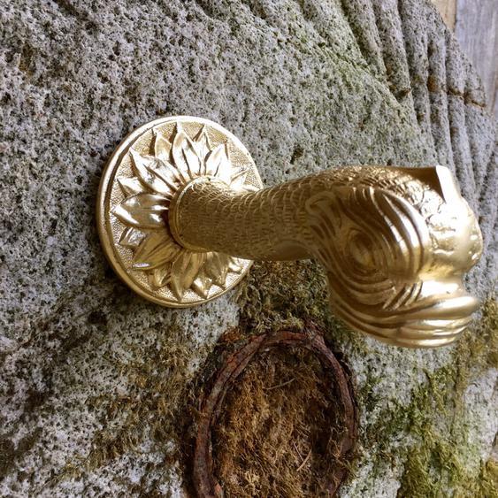 Wasserspeier Fischmaul, Messing-Brunnenspeier, Brunnenauslauf für Wandbrunnen