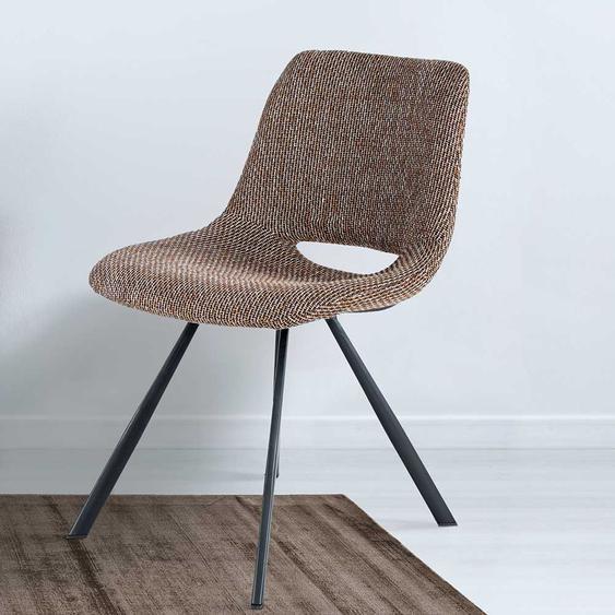 Webstoff Stühle in Braun Retrostil (2er Set)