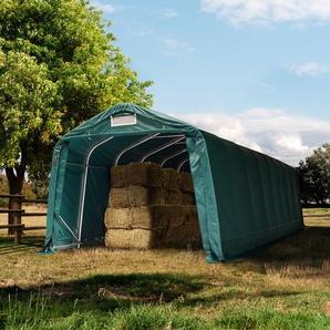 Weidezelt 3,3x8,4 m, PVC 550 g/m², dunkelgrün Erduntergrund