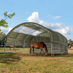 Weidezelt 6x6 m mit Oberlichtern, PVC feuersicher 720 g/m² dunkelgrün Betonuntergrund