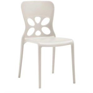 Weißer Stuhl aus Kunststoff stapelbar