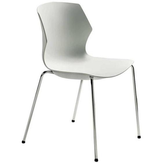 Weißer Stuhl aus Kunststoff verchromtem Metallgestell