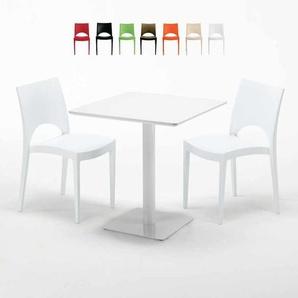 Weiß Tisch Quadratisch 70x70 Cm mit 2 Bunten Stühlen PARIS MERINGUE | Weiß - GRAND SOLEIL