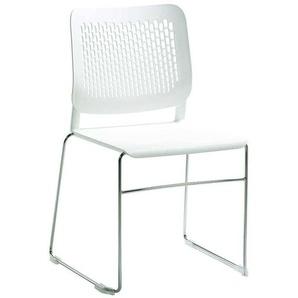 Weißer Kunststoff Stuhl mit Metallbügeln Made in Germany
