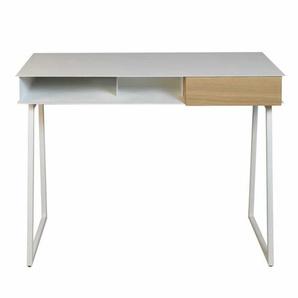 Weißer Schreibtisch aus Stahl Schublade in Eiche