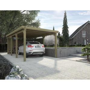Weka Flachdach-Carport 617 ohne Dacheindeckung, kieferfarben, Gr. 2, 612 x 322 cm