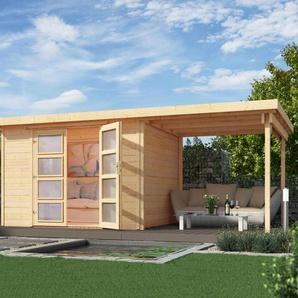 WEKA Massivholz-Gartenhaus mit Flachdach und Anbau - grau - Massivholz -