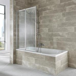 welltime Badewannenaufsatz Nassau, weiß B/H: 100 cm x 140 cm, beidseitig montierbar silberfarben Duschwände Duschen Bad Sanitär
