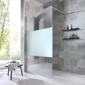 welltime Duschwand Duschabtrennung, Breite 120 cm, mit Dekor B/H: cm x 195 beidseitig montierbar farblos Duschkabinen Duschen Bad Sanitär