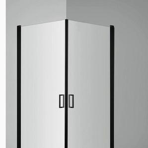welltime Eckdusche »Florenz Black«, BxT: 90x90 cm, Einscheibensicherheitsglas, mit Hebe-Senk-Mechanismus, barrierefrei einbaubar, höhenverstellbar