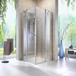 welltime Eckdusche Florenz, höhenverstellbar, barrierefrei B/H: 90 cm x 190 silberfarben Duschkabinen Duschen Bad Sanitär Bodenablauf