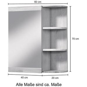 WELLTIME Spiegelschrank »Cadiz«, Badschrank Eiche gekölkt Breite 60cm mit offenen Fach Regal