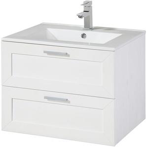 welltime Waschtisch Modern, inkl. Keramikwaschbecken, aus Massivholz 60 cm x 50 weiß Waschtische Badmöbel