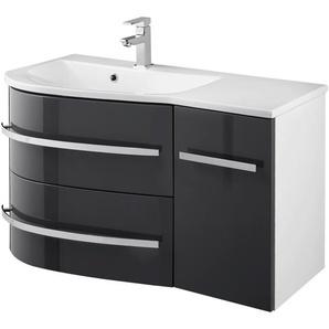 welltime Waschtisch OSLO, Breite 90cm, geschwungene Form, Ablage rechts 90 cm x 50 grau Waschtische Badmöbel