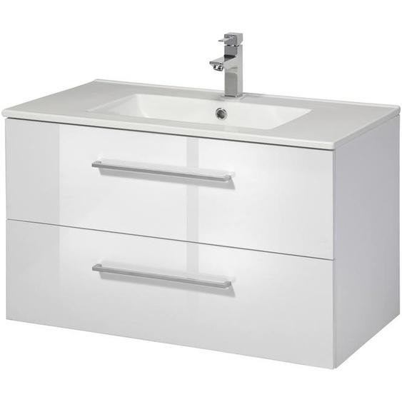 welltime Waschtisch Palermo, Premium Badmöbel in Breite 80 cm x 51 weiß Waschtische