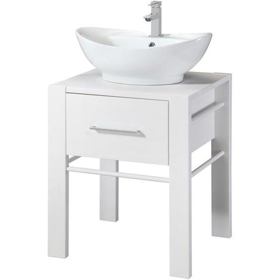 welltime Waschtisch Wien, inkl. Becken und Handtuchstange, aus Massivholz 76 cm x 60 weiß Waschtische Badmöbel