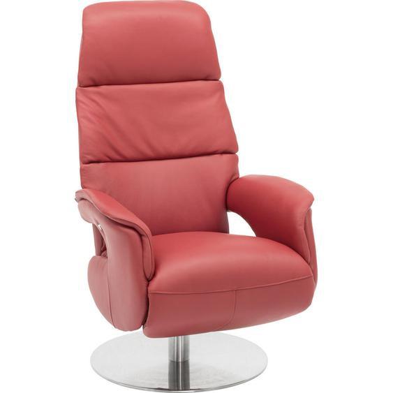 Welnova Relaxsessel Echtleder Relaxfunktion , Rot , Metall, Leder , 75x118x82 cm