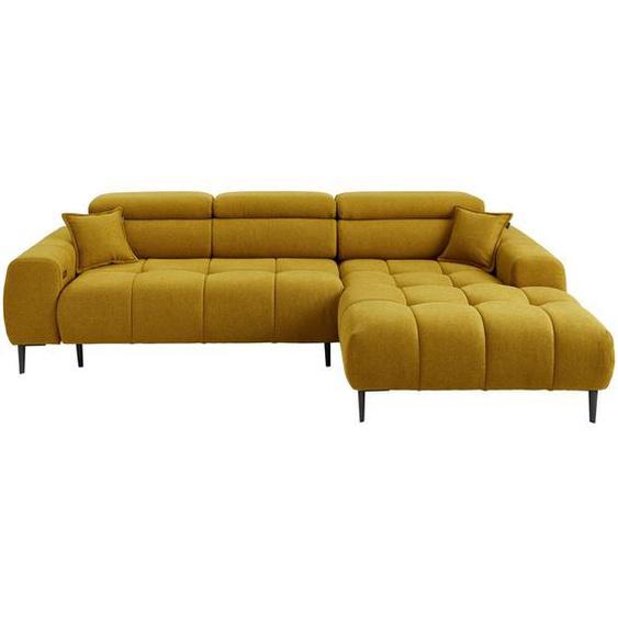 Welnova Wohnlandschaft Currygelb Webstoff , Textil , Uni , 5-Sitzer , 177 cm