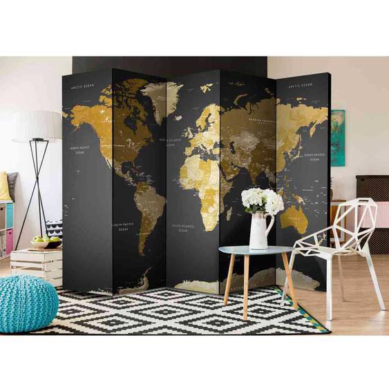 Weltkarte Raumteiler in Braun und Grau 225 cm breit