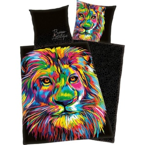 Wendebettwäsche »Löwe«, mit buntem Löwenkopf