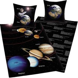 Wendebettwäsche »Sonnensystem«, Herding Young Collection, mit Infotexten