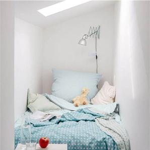 Wendedecke blau/weiß gepunktet - bunt - 100 % Merinowolle - Tagesdecken & Quilts - Überwürfe & Sofaüberwürfe
