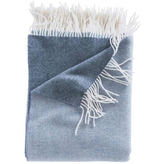 Wendewolldecke dunkelblau-blau - bunt - 90 % Merinowolle, 10 % Kaschmir - Wolldecken & Plaids