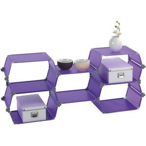 WENKO 2560330100 Steckregalsystem Honey - 5er Set, hochwertiger Kunststoff, Wabe je 40 x 25.5 x 30 cm, lila