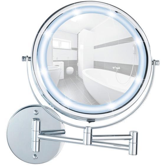 Wenko Power-Loc LED Wandspiegel Lumi 5-fach Vergrößerung Chrom