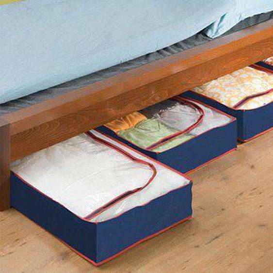 WENKO Unterbettkommode, (Set, 4 St.), aus recyclingfähigem Material B/H/T: 100 cm x 15 45 blau Körbe Boxen Regal- Ordnungssysteme Küche Ordnung Unterbettkommode