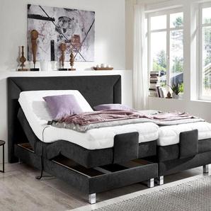 Westfalia Schlafkomfort Motor-Boxspringbett, 7-Zonen-Kaltschaummatratze, schwarz