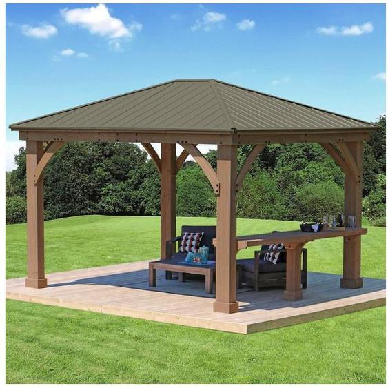 WESTMANN Brüstungsgeländer, 299 cm Länge, 96 cm Höhe, mit 1 Pfosten, Seitenablage für Holzpavillon »Devon«