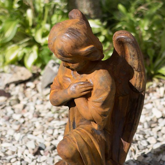 Wetterfeste Skulptur in Rostoptik, kniender Engel für Garten oder Friedhof