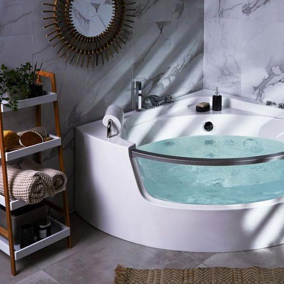 Whirlpool Badewanne Eckmodell mit LED 140 cm MANGLE