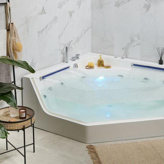 Whirlpool Badewanne Eckmodell mit LED 150 cm CACERES