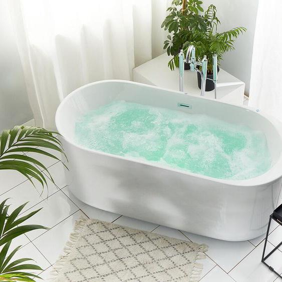 Whirlpool-Badewanne freistehend mit LED oval VINALES