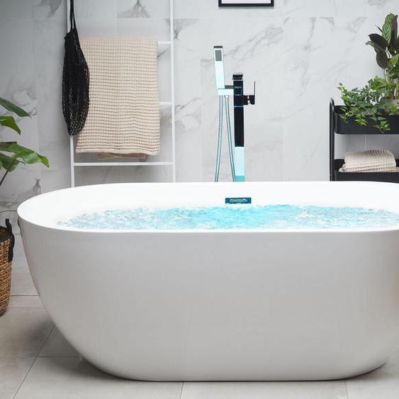 Whirlpool Badewanne freistehend weiß mit LED 170 cm NEVIS