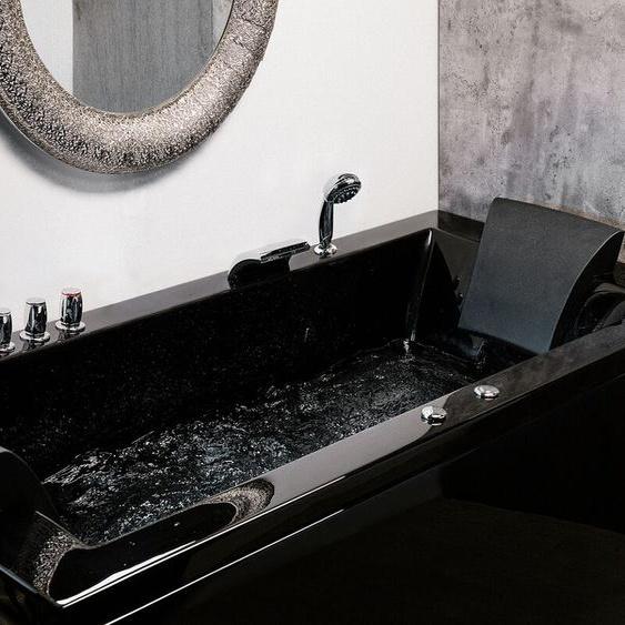 Whirlpool-Badewanne schwarz mit LED links VARADERO