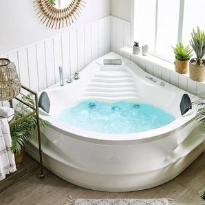 Whirlpool Badewanne mit Bluetooth Lautsprecher weiß mit LED 210 x 145 cm MONACO