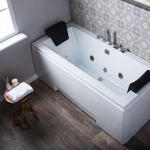 Whirlpool Badewanne mit LED weiß rechteckig 170 x 75 cm GALLEY
