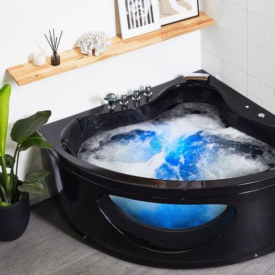 Whirlpool Badewanne schwarz Eckmodell mit LED 140 cm TOCOA