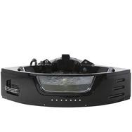 Whirlpool-Badewanne Schwarz Eckmodell mit LED MARTINICA