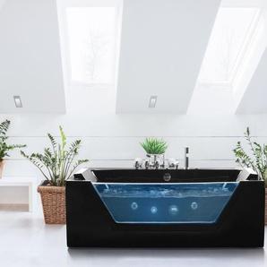 Whirlpool Badewanne schwarz LED Unterwasserbeleuchtung 170 x 80 cm SAMANA
