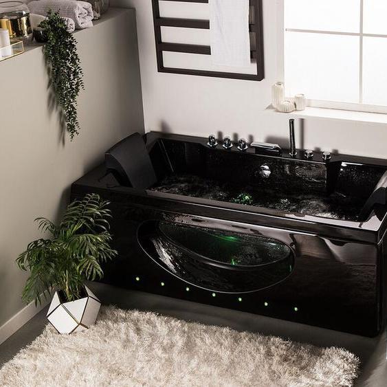 Whirlpool Badewanne schwarz mit LED 180 cm HAWES