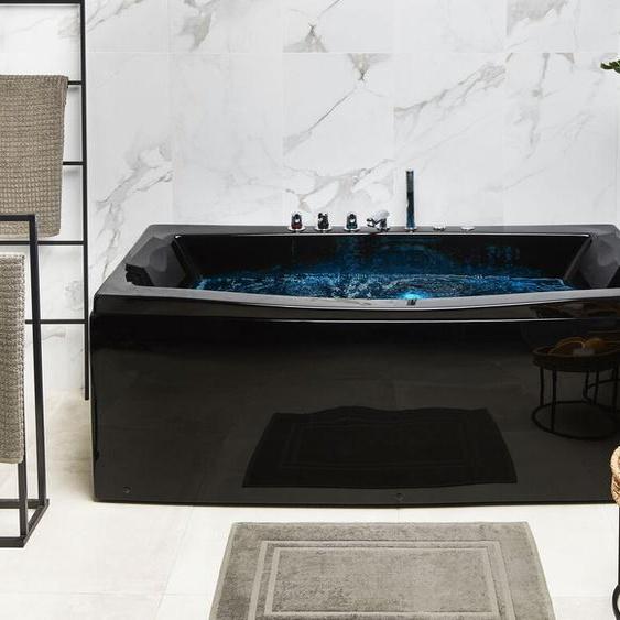Whirlpool Badewanne schwarz mit LED rechteckig 170 cm MOOR