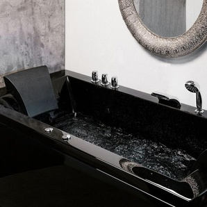 Whirlpool Badewanne schwarz mit LED rechts 183 x 90 cm VARADERO
