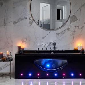 Whirlpool Badewanne schwarz rechteckig mit LED 170 x 80 cm HAWES