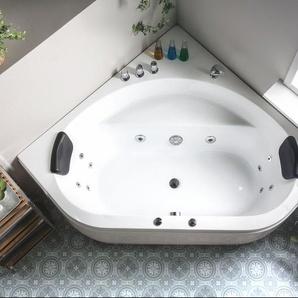 Whirlpool Badewanne weiß Eckmodell mit LED 140 x 140 cm MEVES