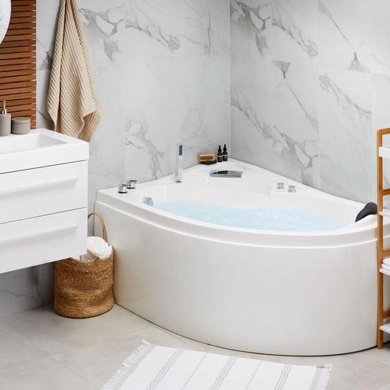 Whirlpool-Badewanne weiß Eckmodell mit LED 150 cm rechts NEIVA