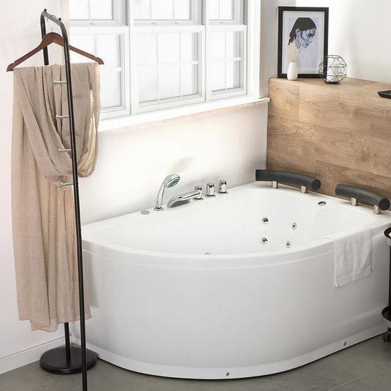 Whirlpool Badewanne weiß Eckmodell mit LED 160 cm links PARADISO